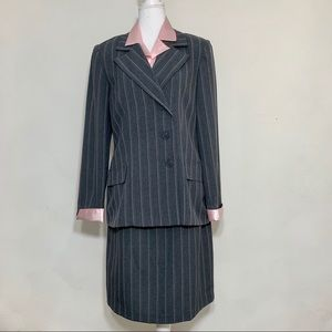 HP 90's Pinstripe Pink Lined Skirt Power Suit 10
